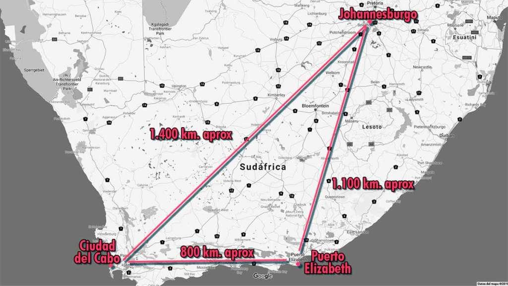 La ruta de la trata en Sudáfrica que sufrió Grizelda Grootboom. De Ciudad del Cabo pasó a ser explotada sexualmente en Puerto Elizabeth para volver a su ciudad de origen.